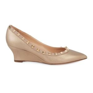 Valentino studded leather wedge pump